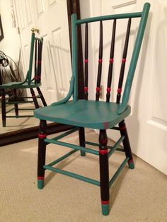 Chair done with black, teal, and raspberry Cottage Paint
