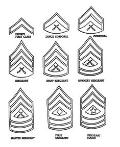 Veterans Day Coloring Pages, US Army Enlisted Rank coloring page sheets Veterans Day Coloring Page, Marine Corps Ranks, Coloring Pages, Marine Tattoo, Military Crafts, My Dad My Hero, Once A Marine, Leather Tooling Patterns, Quilt Of Valor