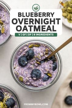 This Blueberry Overnight Oatmeal is a vibrant, refreshing, and fruit-filled breakfast that looks just as good as it tastes! A perfect vegan and gluten-free recipe to start the day. Healthy Breakfast Recipes, Brunch Recipes, Dessert Recipes, Kosher Recipes, Oatmeal Recipes, Vegan Recipes, Free Breakfast, Vegan Breakfast, Breakfast Ideas