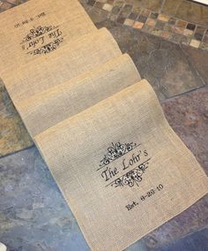 Burlap Monogram - Personalized Embroidered Burlap Table Runner - Family name and Scrolls