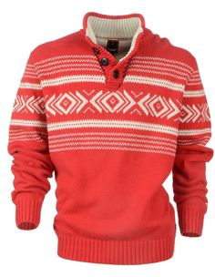 $120 Kiki in Flame- new for Autumn Winter 2012   Men's stand collar and placket knit with placed inca pattern, heavy rib detail and accent colour. End Of Season Sale, Accent Colors, Fall Winter, Autumn, Knitwear, Trousers, Men Sweater, Seasons, Colour