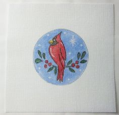Red Cardinal Bird in the Snow Round Handpainted Needlepoint Canvas #Unbranded