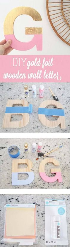 Pink DIY Room Decor Ideas - DIY Gold Foil Letter Art - Cool Pink Bedroom Crafts and Projects for Teens, Girls, Teenagers and Adults - Best Wall Art Ideas, Room Decorating Project Tutorials, Rugs,... #artsandcraftsforteengirls,
