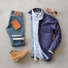 Rugged layered men's wear from @runnineverlong #boots #layers #leather #belt #shirtjacket