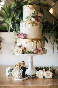 3 tiered buttercream cake with dripping gold frosting, The Ruby Street Wedding Venue, Photographer: Casey Brodley, Cake: Nicole Bakes Cakes, Art & Soul Events Wedding #ClassyWeddingIdeas