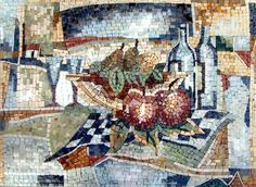 Mosaic Designs Apple and Wine Mosaic Patterns - Mosaic -Kitchen Backsplash - Apples -and Wine artwork - kitchen mosaics - modern mosaic designs for kitchen | #Mozaico