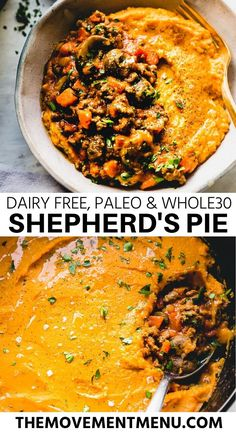 This easy recipe for dairy free paleo and shepherds pie is the best youll try. The creamy sweet potato mash on top is healthy and made with garlic and coconut milk. The perfect addition to your meal prep and planning. Paleo Recipes Easy, Real Food Recipes, Cooking Recipes, Meal Recipes, Family Recipes, Free Recipes, Paleo Whole 30, Whole 30 Recipes, Sugar Free Bacon