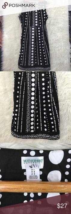 "Motherhood polka dot maternity dress Adorable black & white Motherhood maternity dress with elastic waist & pockets. Size L. 98% cotton 2% spandex. 35"" long Motherhood Dresses"
