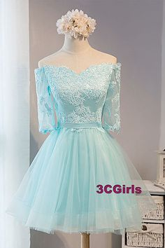 Off shoulder prom dress, cute blue tulle + appliques short prom dress with sleeves