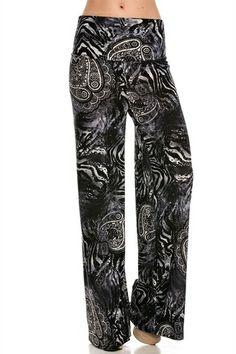 $28.95 Palazzo Pants Paisley Pattern Black - Kelly Brett Boutique