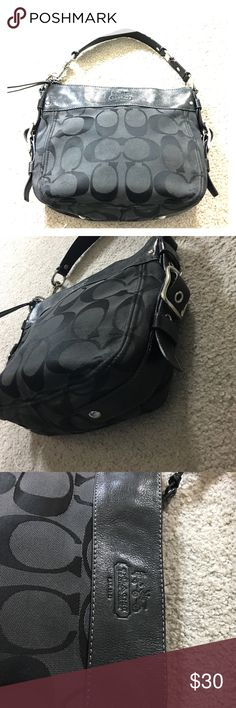 Coach black leather fabric hobo authentic Coach Leather and fabric Black hobo medium size has one ink stain on the back see photos for details cute bag inside has a zippered pouch as well as a phone pocket and a wallet pocket non-smoking home fast delivery at an excellent price to get it today Coach Bags