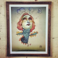 Cool little pic framed in a nice recycled timber slim line frame. www.mulbury.com.au