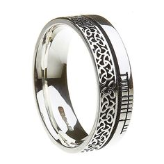 Aibhne Comfort Fit Faith Band (C-3841) - Celtic Wedding Rings