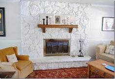 Painted Rock Fireplace Huge Improvement Makes The Room