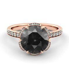 Black Diamond Engagement Ring - Non Diamond Engagement Rings - Engagement Rings Without Diamonds