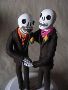 Day of the Dead Wedding Cake Topper Two Grooms. AWESOME!! by Clay Lindo