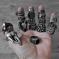 Awesome Badass. Tattoos, Rebel, mens Fashion jewelry Piercings, Grunge Jewelry, Fashion Accessories, Fashion Jewelry, Biker Rings, Punk Fashion, Sterling Silver Jewelry, Rings For Men, Badass Tattoos
