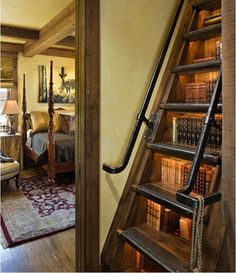 Bookshelf built into stairs, brilliant!