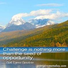 Challenge is nothing more than the seed of opportunity.