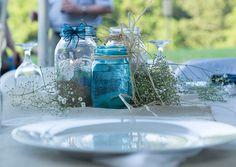 centerpieces, mason jars, burlap, rustic wedding: Hugo  Scheid Wedding, Windswept Photo Design