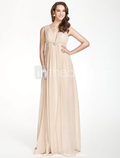 Empire V-neck Floor-length Chiffon Over Elastic Satin Bridesmaid/ Wedding Party Dress - US$ 116.99