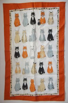 Vintage 80s 90s Irish  Linen Cat Wall Hanging by SycamoreVintage