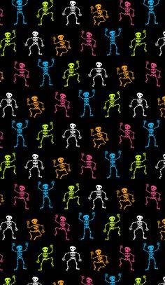 Dancing skeletons, halloween wallpaper
