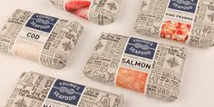 Packaging of the World: Creative Package Design Archive and Gallery: Young Seafood Food Branding, Food Packaging Design, Packaging Design Inspiration, Brand Packaging, Sandwich Packaging, Salad Packaging, Clever Packaging, Plastic Packaging, Paper Packaging