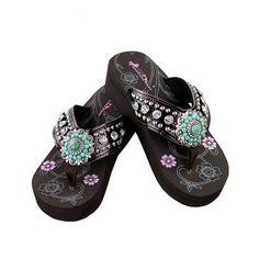 17ebad6100fe2c Montana West NEW Womens Rhinestone Concho Flip Flop Bling Sandals