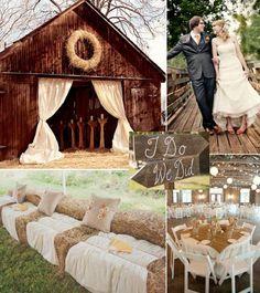 déco mariage champêtre - canapé de paille, voiles blancs et table ronde en blanc et beige