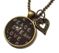 Love Peace Dream Glass Pendant Necklace with by TJsTreasureChest Glass Pendants, Peace And Love, Pocket Watch, Fashion Accessories, Bling, Etsy Shop, Pendant Necklace, Gift Ideas, Jewels