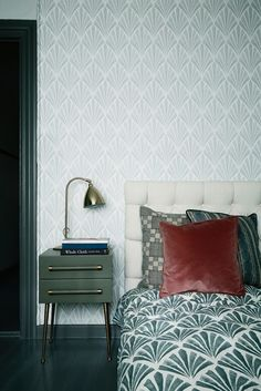 Our bedroom. My wallpaper Deco Fan is on the walls combined with printed Deco Fan textile as bedcover. Small furniture from Chelsea textiles. Hand Built headboard from TAPET-CAFE. Photograph by Line Klein/Stine Langvad featured in Danish Elle Decoration, may 2014.