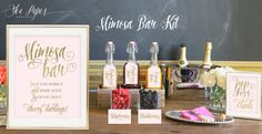 Ava Mimosa Bar Package: Blush Pink Gold Glitter by SeaPaperDesigns