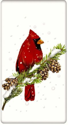 Snowy Christmas Cardinal 100% Cotton Flour Sack Dish Towel Tea Towel