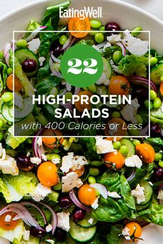 High Protein Salads, High Protein Recipes, Vegetables With High Protein, Fresh Vegetables, Salad With Protein, Healthy Dinner Recipes, Vegetarian Recipes, Veggies, Vegetarian Protein