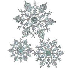 Bulk Glitter Snowflake Ornaments, 3 Assorted Sizes at DollarTree.com