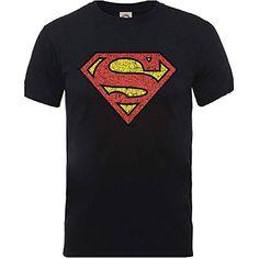 Superman crujido pecho S hombre del logotipo negro medianas oficiales  camiseta  regalo  arte   342b4ea5ddfaf