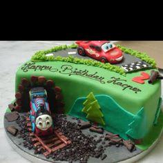 Thomas and Lightning birthday cake for my little boy