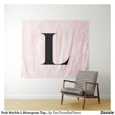 Pink Marble L Monogram Tapestry Marble Tapestry, Pink Marble, Christmas Card Holders, Bed Spreads, Keep It Cleaner, Vivid Colors, Picnic Blanket, Monogram, Curtains