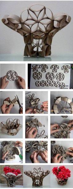 DIY: Jarrón hecha de rollos de papel higiénico