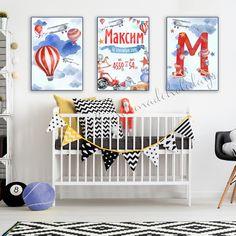 Метрика постер в детскую Kids Room Design, Baby Decor, Hot Air Balloon, Creative Design, Birth, Balloons, Kids Rugs, Wall Art, Children