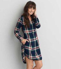 Vestido camisero escocés adaptado para mujer AEO