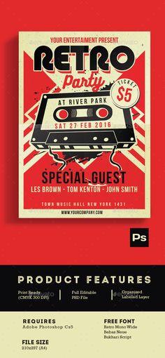 Retro Music Bundle Vol 2 Music flyer, Flyer template and Template - retro flyer templates