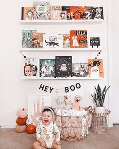 Hey Boo, we dig your Halloween vibes. Bookshelves are a great place to add a festive touch. Our Halloween bows and bibs JUST went live in our shop. Head over to stories to see a closer look at them! Halloween Bows, Halloween Inspo, Holidays Halloween, Halloween Decorations, Happy Halloween, Halloween Party, Girl Nursery, Nursery Decor, Montessori