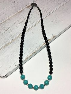 Turquoise & Black Necklace  Bead Necklace  Black Jasper