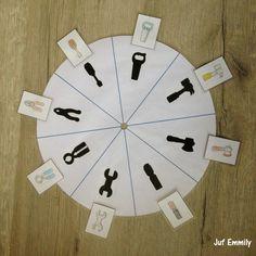 Spel met draaischijf in thema Vaderdag - Gereedschap (Juf Emmily)