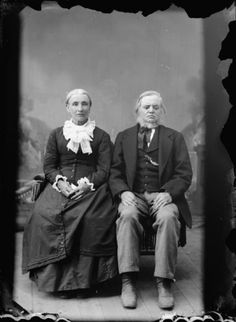 Studio portrait of an elderly man and woman sitting. Identified as Eli and Mary Tiffany of Melrose. #Victorian #vintage #portraits #couple