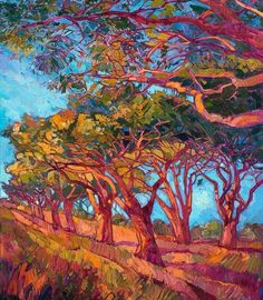 ERIN Hanson is a life-long painter, beginning her study of oil painting at 10 years old. As a teenager, she worked in a mural studio creating paintings for restaurants and casinos around the world. A graduate of UC Berkeley, Erin Hanson took pau. Erin Hanson, Abstract Landscape, Landscape Paintings, Abstract Art, Modern Impressionism, Fashion Painting, Art Plastique, Tree Art, Oeuvre D'art
