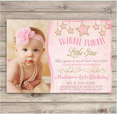 Twinkle Twinkle Little Star Birthday Invitations Photo Shabby Chic Pink Picture Gold Glitter Theme Party girl First Birthday pdf jpeg by cardmint on Etsy https://www.etsy.com/listing/233757328/twinkle-twinkle-little-star-birthday