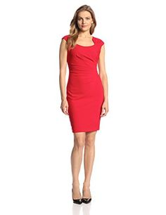 Cap-Sleeve Side-Ruched Sheath Dress by Calvin Klein